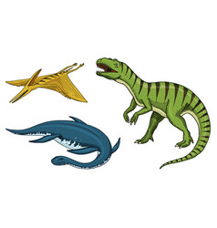 dinosaurs tyrannosaurus rex elasmosaurus vector image