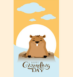 happy groundhog day text greeting card marmot got vector image vector image