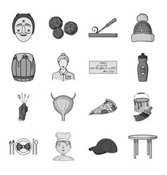 man cook cap and other web icon in monochrome vector image