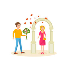 man set up meeting with girlfriend near arch vector image vector image