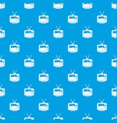 soccer match on tv pattern seamless blue vector image