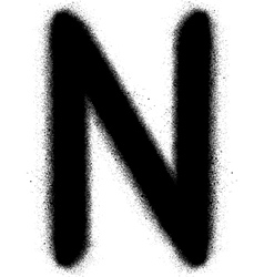 sprayed N font graffiti in black over white vector image vector image