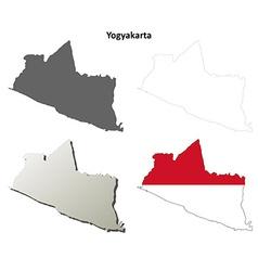 Yogyakarta blank outline map set vector image vector image