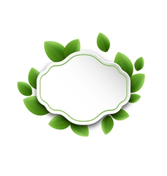 Abstract label with eco green leaves isolated on vector image