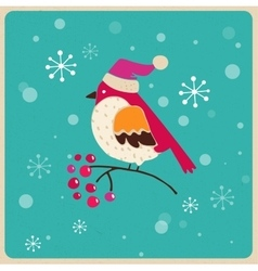 Christmas tree with bird greeting card vector