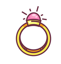 engagement ring with big round gemstone isolated vector image vector image