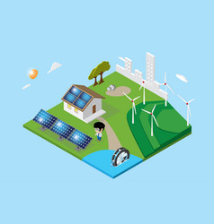 isometric city and home renewable energy concept vector image