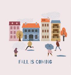 People in the rain autumn vector
