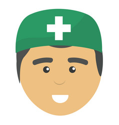 professional face doctor with hat vector image vector image