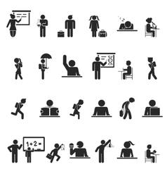 Set of black school children silhouette icons vector image vector image