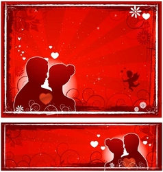 valentines day lovers banners vector image vector image