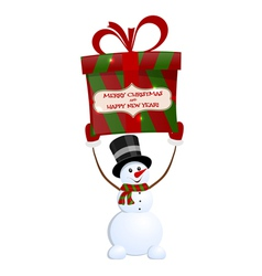 Christmas snowman with gift vector image vector image