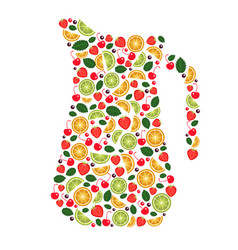 collage of fruits views pitcher vector image vector image