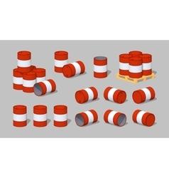 Cube world red metal barrels vector