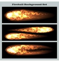 Fireball background set vector image