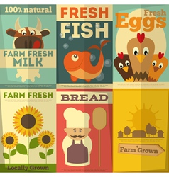 Fresh Farm Food Posters vector image vector image