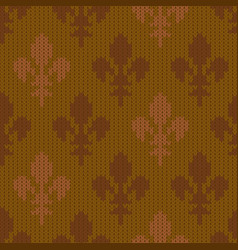heraldic lily on a seamless woolen pattern vector image vector image