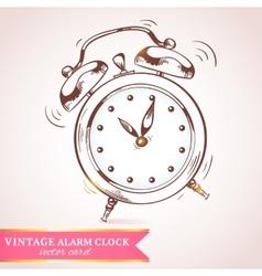 Old retro alarm clock card vector image vector image