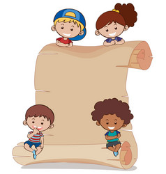 paper background with four kids vector image vector image