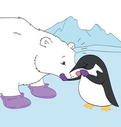 Penguin and Polar Bear Friends vector image