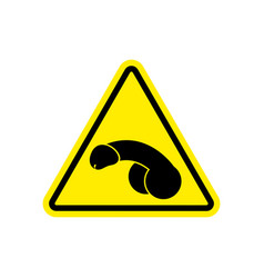 penis warning feminist sign yellow member hazard vector image vector image