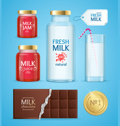 realistic product with milk vector image vector image