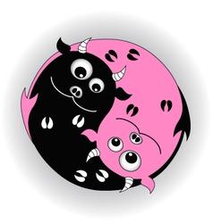 symbol yin yang with devils vector image vector image