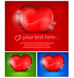 three heart color vector image vector image