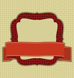 Vintage frame with ribbon and space for text vector image
