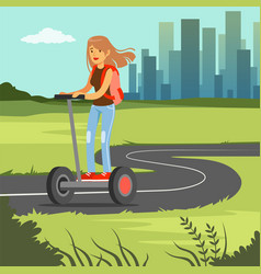 Young sportive woman riding on scooter on cit vector