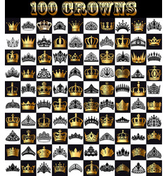 a set gold and black crowns tiara on a vector image