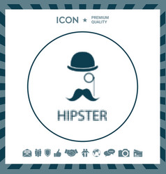 abstract hipster silhouette with bowler hat vector image