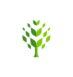 abstract tree logo icon green concept vector image