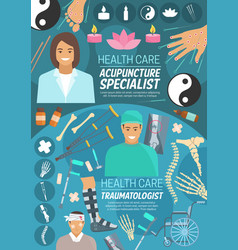 acupuncture and orthopedics doctors vector image