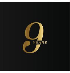 Anniversary company logo 9 year ninth gold vector
