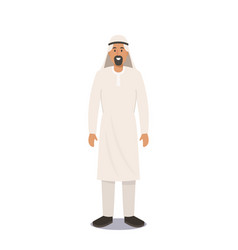 Arab man in traditional clothes muslim culture vector