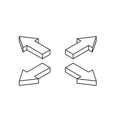 Arrows combination outline icons vector