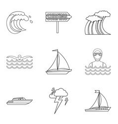 Bad weather icons set outline style vector