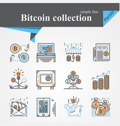 Bitcoin outline and flat trendy icon set isolated vector