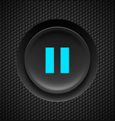 black button with blue pause sign on carbon vector image