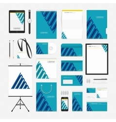 Blue pyramid corporate style template vector