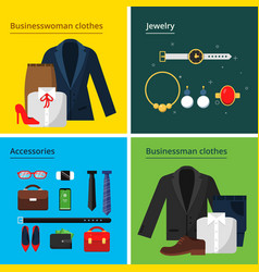 business clothes male and female office wardrobe vector image