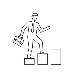 businessman going up stairs outline vector image