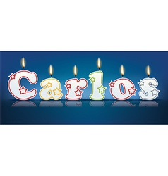 CARLOS written with burning candles vector