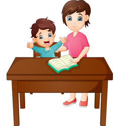 cartoon mother with her son reading book vector image