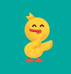 cartoon yellow duckduckling feeling smile vector image