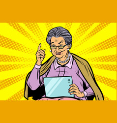 caucasian elderly woman with a tablet vector image