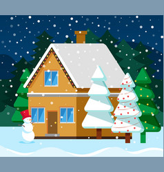 christmas card with house and fir-tree vector image