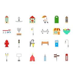 City elements icons set vector