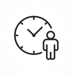 Clock and human icon vector